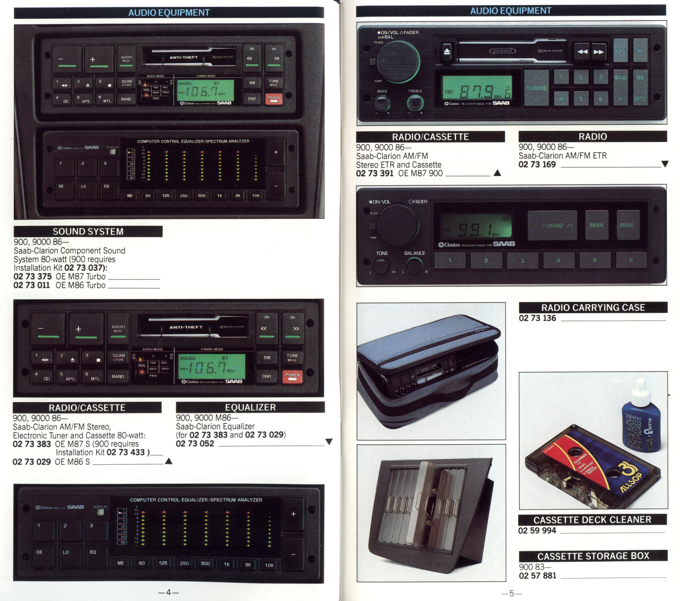 saab clarion audio system my84 94 rh saabclarion se Saab 9-5 Service Manual Saab Manual Transmission