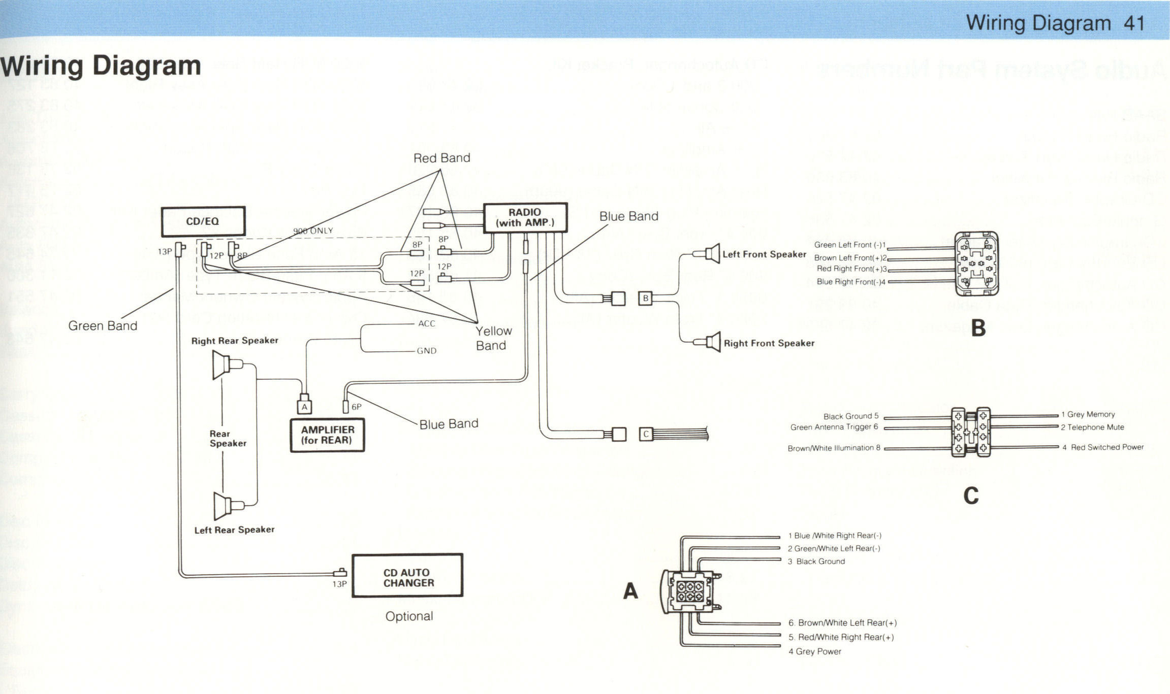 Saab Clarion Audio System My84 94 Amp Wiring Diagram Schematics My92